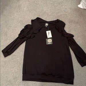 NWT Black open shoulder top